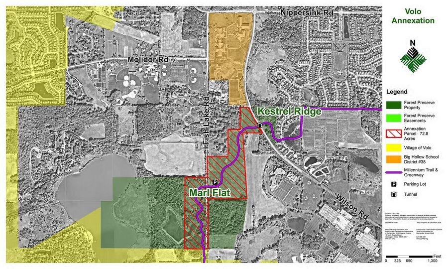 This map shows the portion of the Marl Flat Forest Preserve that could be annexed by Volo.