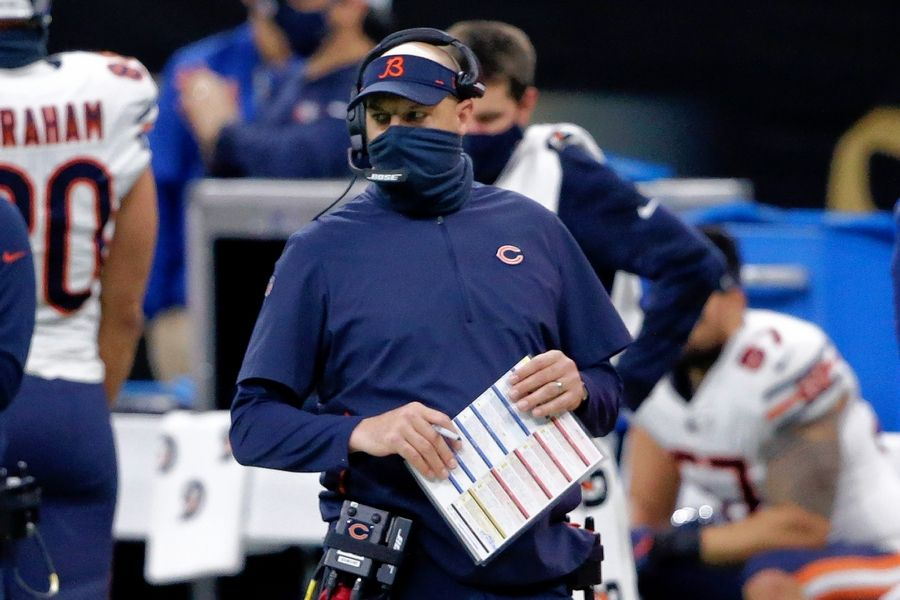 Bears head coach Matt Nagy walks on the sideline in the first half of an NFL wild-card playoff football game against the New Orleans Saints in New Orleans, Sunday, Jan. 10, 2021.
