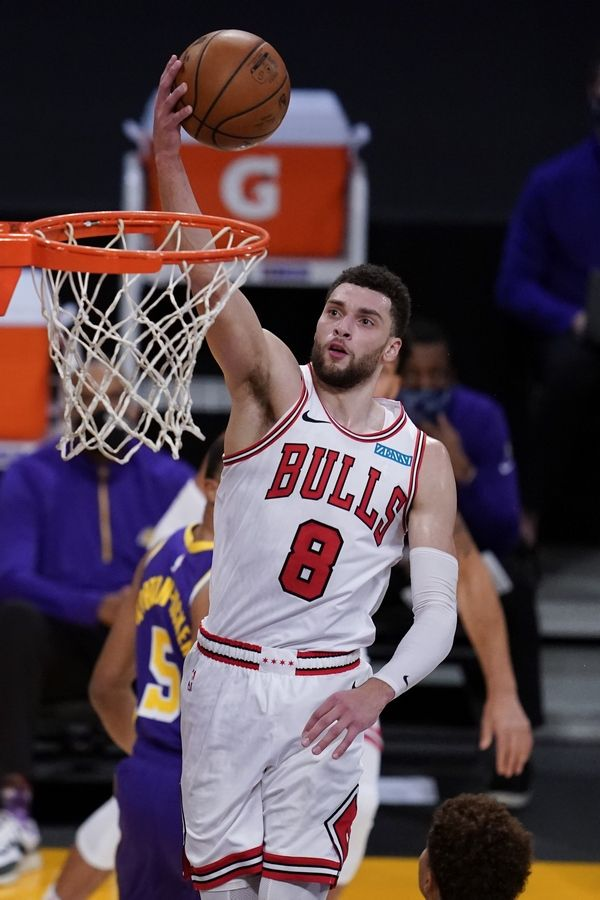 Zach LaVine, here dunking against the Lakers earlier this month, is playing like an all-star this season.