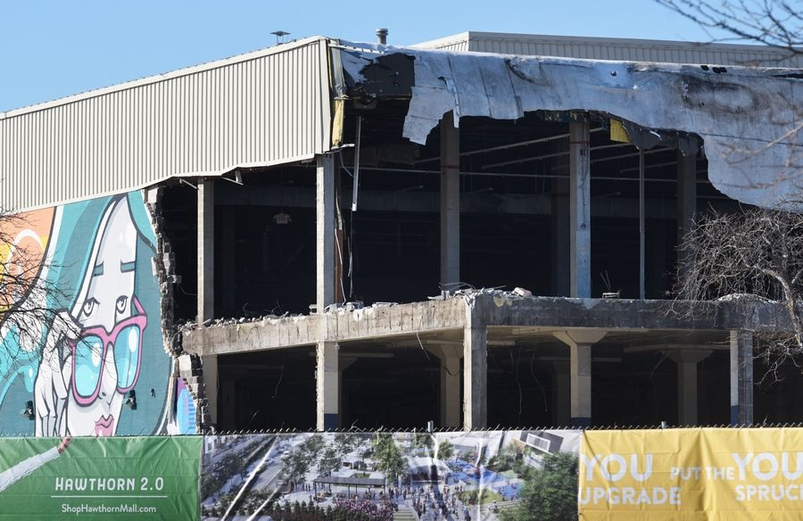 Demolition has begun on the east side of the former Sears store at Hawthorn Mall in Vernon Hills.