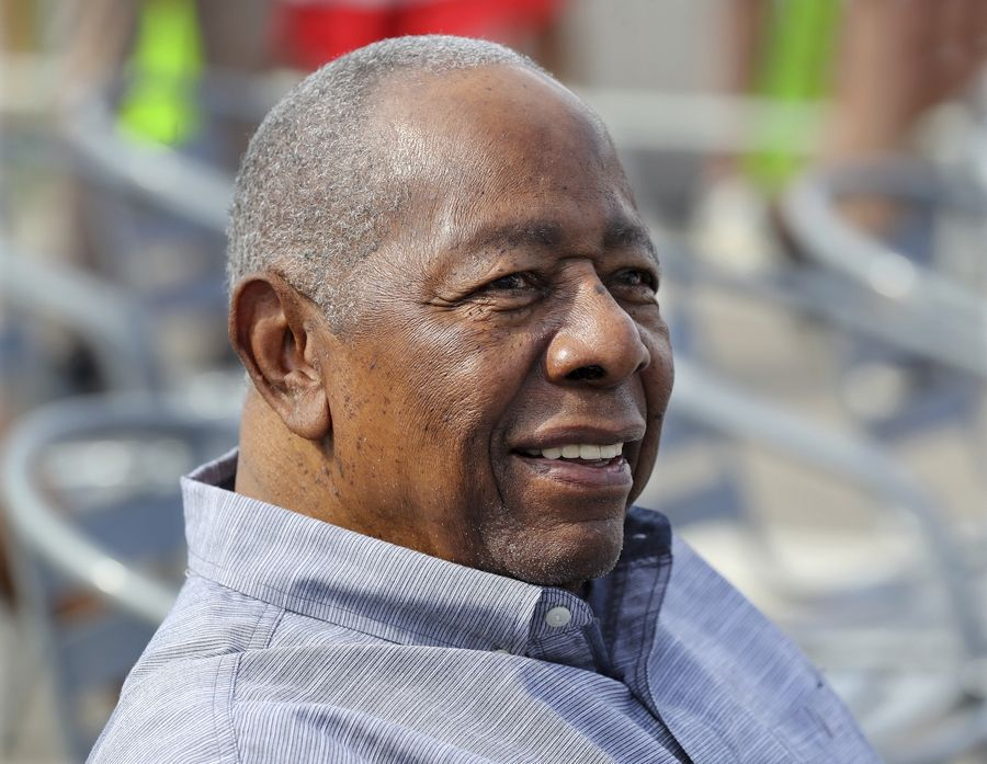 Baseball Hall of Famer Hank Aaron is honored with a street named after him outside CoolToday Park, the spring training baseball facility of the Atlanta Braves, in North Port, Fla.