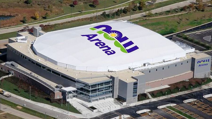 A digital rendering of how the NOW Arena in Hoffman Estates will appear after the signs that branded the 11,000-seat venue as the Sears Centre Arena have been removed and replaced during the coming weeks and months. There has never been a sign on the roof of the building before.