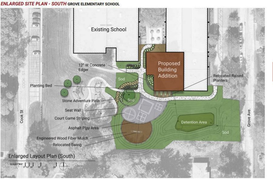 This rendering shows planned work at Grove Avenue Elementary School in Barrington.