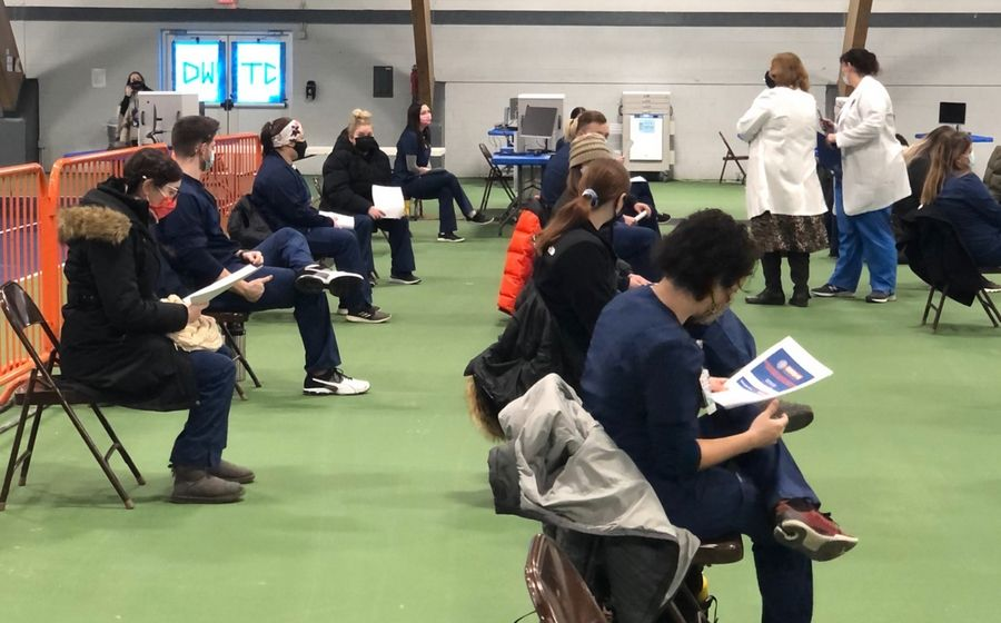 About 30 Elmhurst University nursing students and two faculty members took part in an orientation session on Feb. 8 in Wheaton as they prepare to join DuPage County's expanded vaccination efforts.