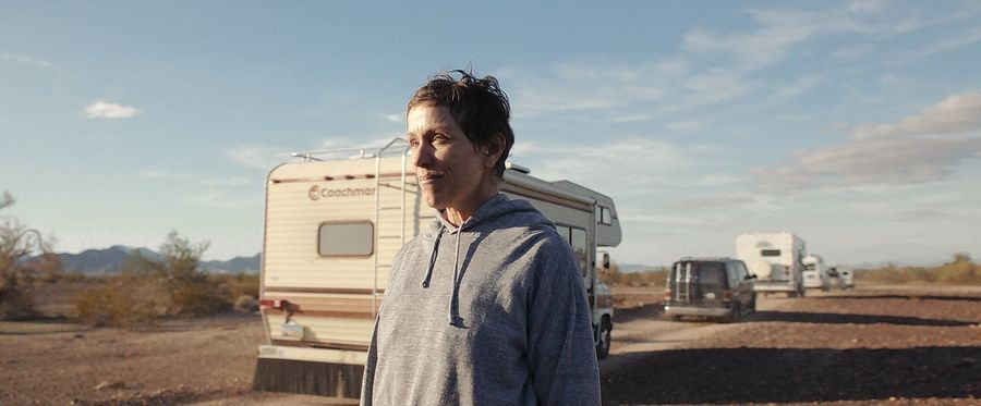 "An unemployed widow (Frances McDormand) explores the American West in ""Nomadland."""