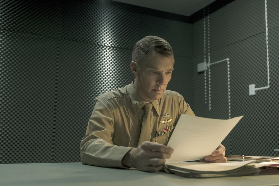 "Lt. Col. Stuart Couch (Benedict Cumberbatch) insists on the guilt of Mohamedou Ould Slahi in ""The Mauritanian."""