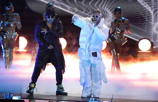 Wisin, left, and Jhay Cortez perform at Premio Lo Nuestro at American Airlines Arena on Thursday, Feb. 18, 2021, in Miami.