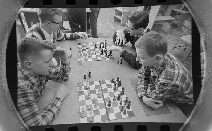 The Daily Herald Archive, Assignment # 553, Don Vickery photo: Plotting the downfall of one another are these chess club members at Arlington High School in March of 1965. Clockwise from above left are Ferdunand Korndorf, Robert Jenkins, John Simmons and Allan Swaby.