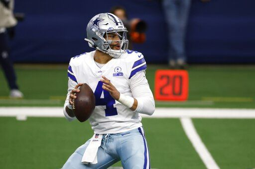 FILE - In this Sunday, Oct. 4, 2020 file photo, Dallas Cowboys quarterback Dak Prescott drops back to pass in the first half of an NFL football game against the Cleveland Browns in Arlington, Texas. Applying franchise and even transition tags to players can have major ramifications on a team's present and future. That was never more of a consideration than this year, with the salary cap decreasing by, for now, $18 million. That's the first time the cap has gone down, which is due to lost revenues caused by the COVID-19 pandemic.