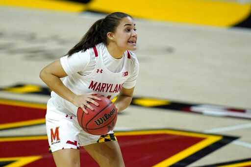 Maryland guard Katie Benzan works the floor against Iowa during the second half of an NCAA college basketball game, Tuesday, Feb. 23, 2021, in College Park, Md. Maryland won 111-93.