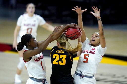Iowa forward Logan Cook (23) faces pressure from Maryland guard Diamond Miller (1) and forward Alaysia Styles (5) during the second half of an NCAA college basketball game, Tuesday, Feb. 23, 2021, in College Park, Md. Maryland won 111-93.