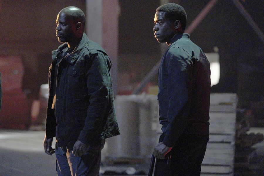 "Franklin Saint (Damson Idris), right, (with Lurp (Kwame Patterson)) copes with the aftermath of his shooting in season four of FX's ""Snowfall."""