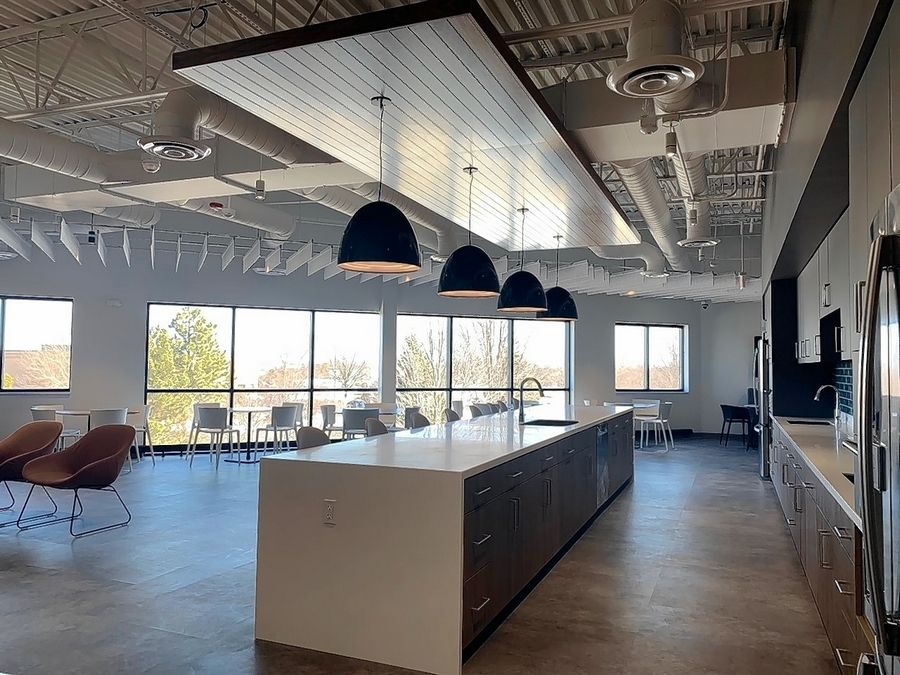 The large, well-lit kitchen space reflects the extensive renovations U.S. Waterproofing made to the vacant industrial building at 81 Remington Road in Schaumburg ahead of moving its company headquarters there Friday.