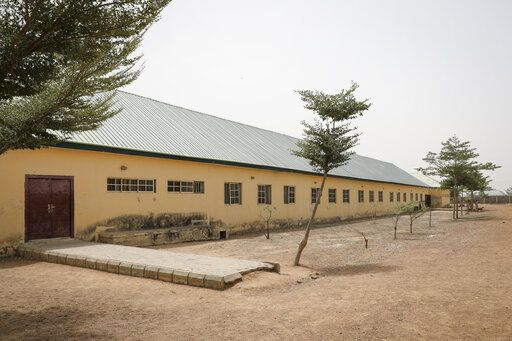 This Saturday, Feb. 27, 2021 photo shows the Government Girls Junior Secondary School from where more than 300 girls were abducted on Friday by gunmen, in Jangebe town, Zamfara state, northern Nigeria. Nigerian police and the military have begun joint operations to rescue the more than 300 girls who were kidnapped from the boarding school, according to a police spokesman.