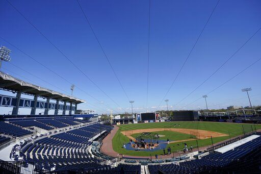 The New York Yankees take batting practice at George M. Steinbrenner Field during a spring training baseball workout Tuesday, Feb. 23, 2021, in Tampa, Fla.