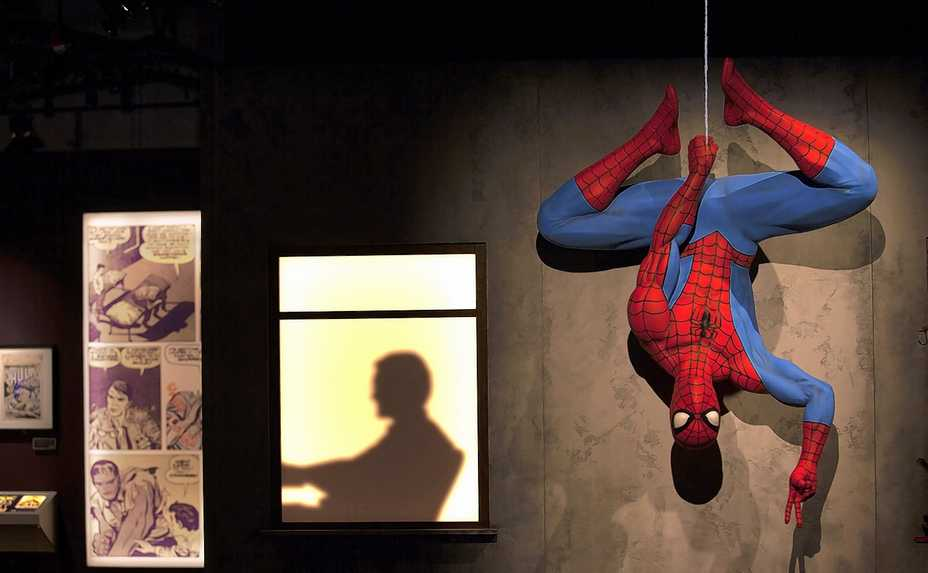 Spidey hangs out at the Marvel: Universe of Super Heroes exhibit inside the Museum of Science and Industry.