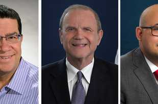 From left Michael Charewicz, Malcom Chester and Andrew Goczkowski are Des Plaines mayoral candidates in the April 6 election.