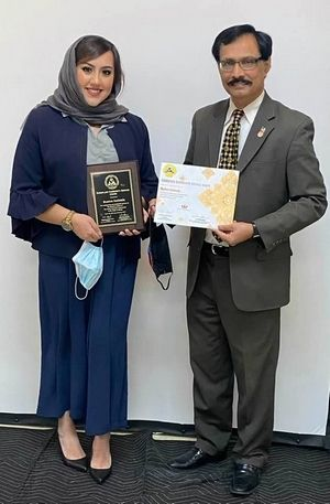 Bushra Amiwala is awarded the Asian American Coalition of Chicago's award for exemplary community service and youth excellence.