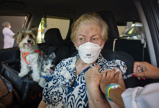 Maria Helena Alcantara gets a shot of the Sinovac COVID-19 vaccine while she sits in her car with her pets during a priority vaccination program for seniors at a drive-thru site set up in the Pacaembu soccer stadium parking lot in Sao Paulo, Brazil, Wednesday, March 3, 2021.