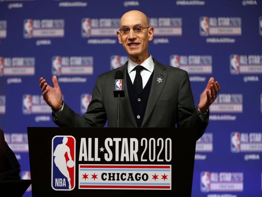 NBA Commissioner Adam Silver talked to the media Feb. 15, 2020, at the United Center, ahead of the next day's All-Star Game. Less than a month later, he shut down the league because of the pandemic. Most other sports soon followed.