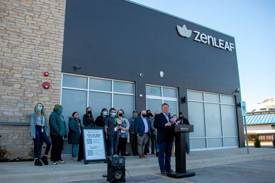 Lombard Village President Keith Giagnorio speaks at the Friday opening of Zen Leaf, the village's first recreational-use marijuana dispensary. Zen Leaf is at 783 Butterfield Road.