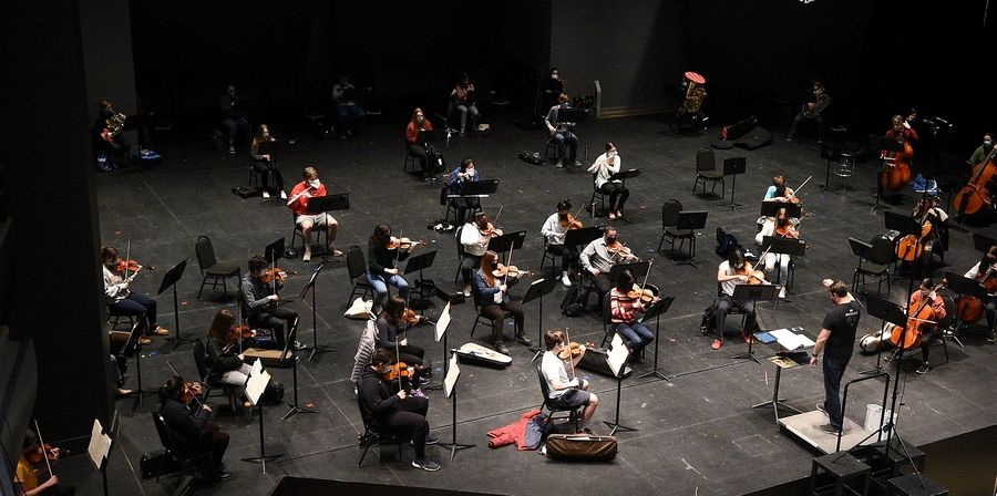 The Elgin Youth Symphony Orchestra, seen rehearsing for a recent livestreamed concert at Elgin Community College, was named Youth Orchestra of the Year by the Illinois Council of Orchestras.