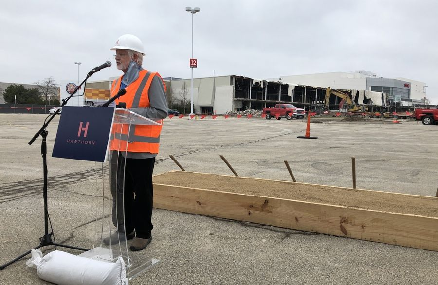 Vernon Hills village trustee Thom Koch speaks Thursday during a ceremonial groundbreaking on the redevelopment of Hawthorn Mall, a project being called Hawthorn 2.0.