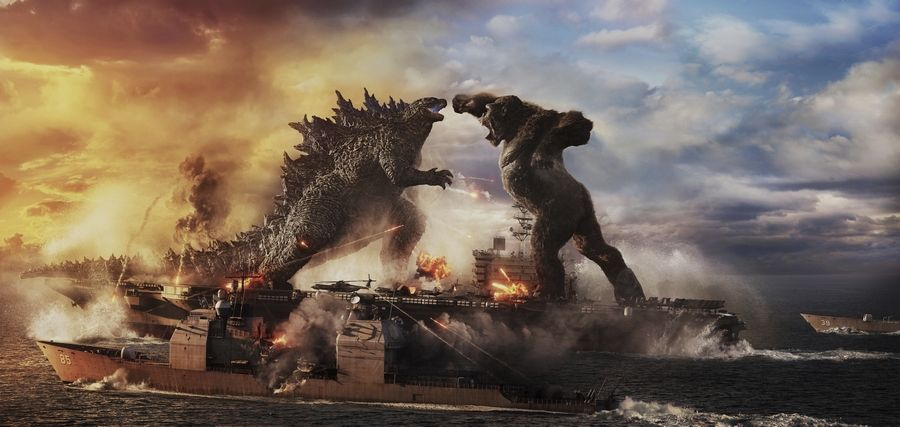 "Massive monsters battle it out in ""Godzilla vs. Kong,"" available in theaters and on HBO Max Wednesday."