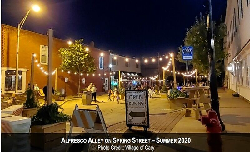 A photo of outdoor dining on Cary's Spring Street from last summer.