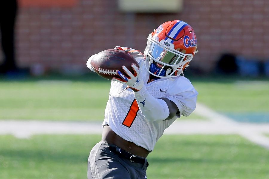 Florida wide receiver Kadarius Toney, here during practice for the January Senior Bowl, could be a target for the Bears on draft day.