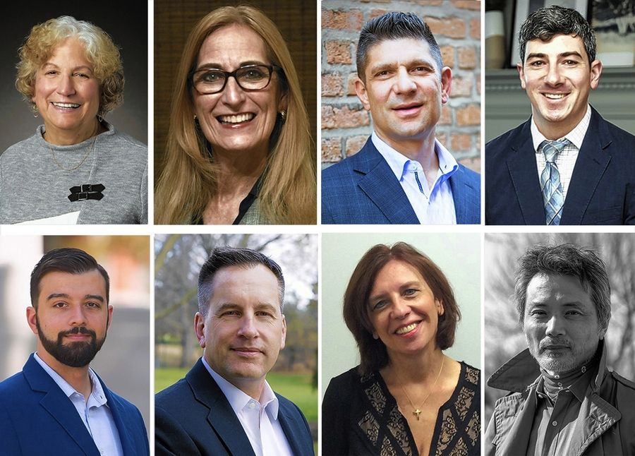 "Upper from left, Florence Appel, Heidi Holan, Nick Howard, Daniel Malloy and lower from left, Andrew Manno, Don Potoczny, Deborah Sajdak and Sheng ""Texa"" Sun are College of DuPage board candidates in the April 6, 2021 election."