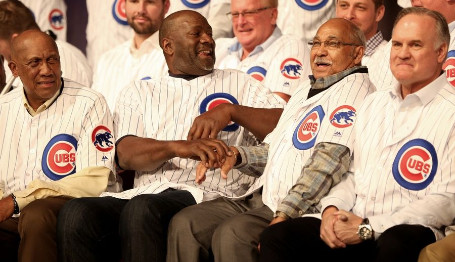 Cubs Hall of Fame members, from left, Fergie Jenkins, Lee Smith, Billy Williams, and Ryne Sandberg share a laugh as they are introduced during opening night Friday of the 2019 Chicago Cubs Convention at the Sheraton Grand in Chicago. The Cubs announced plans Tuesday to add a statue of pitcher Fergie Jenkins outside Wrigley Field.