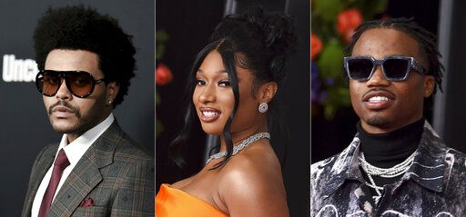 "This combination of photos shows, from left, The Weeknd at the Los Angeles premiere of ""Uncut Gems"" on Dec. 11, 2019, Megan Thee Stallion at the 63rd annual Grammy Awards in Los Angeles on March 14, 2021 and Roddy Ricch at the 63rd annual Grammy Awards in Los Angeles on March 14, 2021. The Weeknd, Megan Thee Stallion and Roddy Ricch are among the top nominees for next month's iHeartRadio Music Awards. The Weeknd's eight nominations include male artist of the year and song of the year, for 'œBlinding Lights.'�  Ricch and Megan Thee Stallion earned seven nods each, including hip-hop artist of the year."