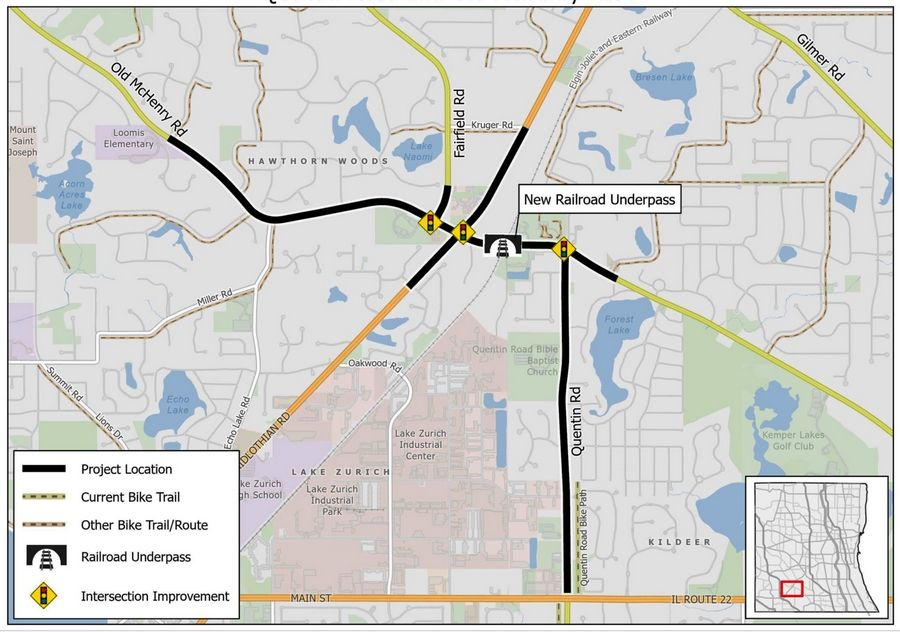 The Lake County Board on Tuesday is expected to authorize $6.17 million to evaluate three intersections and other portions of Old McHenry and Quentin roads in the Hawthorn Woods-Lake Zurich area. It would include a possible underpass at the Canadian National railroad tracks.