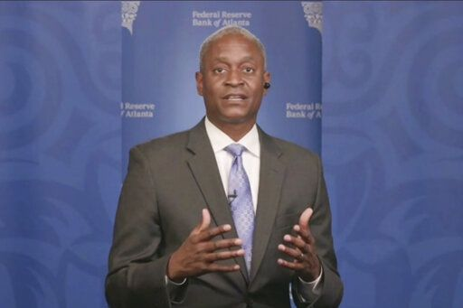 In this still image from video, Atlanta Federal Reserve Bank President Raphael Bostic speaks from Atlanta during a webinar sponsored by the 12 regional Fed banks to address the lack of racial disparity in the field of economics on Tuesday, April 13, 2021.