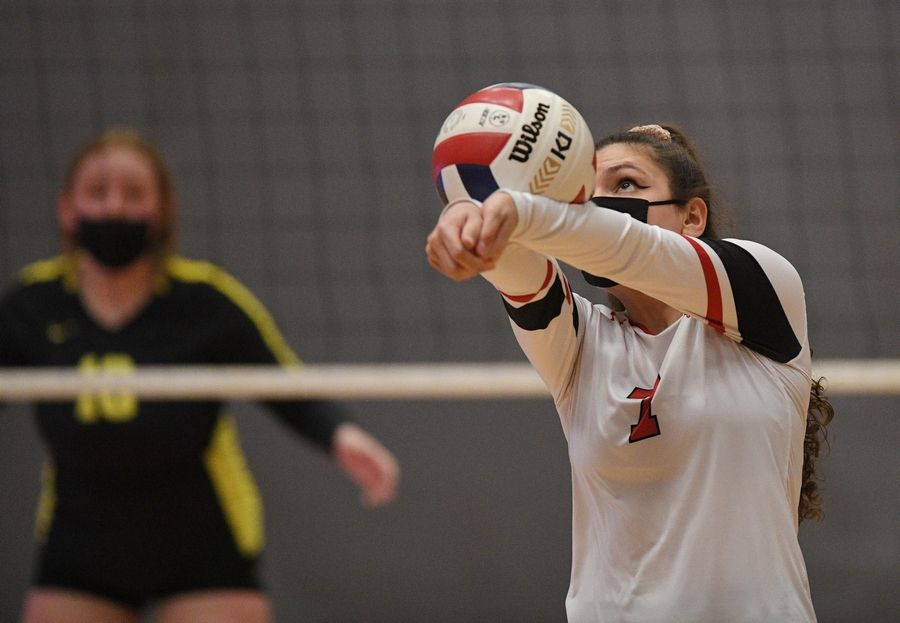 Barrington's Felicia Guagliardo hits against Fremd in a girls volleyball match in Barrington Wednesday, April 14, 2021.