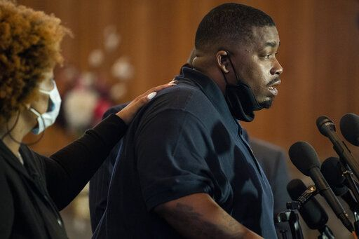 Aubrey Wright, father of the deceased Daunte Wright, speaks during a news conference at New Salem Missionary Baptist Church, Thursday, April 15, 2021, in Minneapolis.
