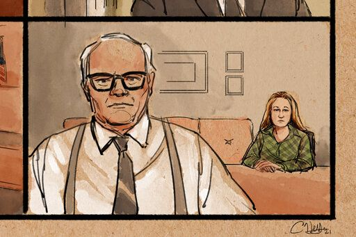 In this courtroom sketch, attorney Earl Gray, left, appears as he represents former Brooklyn Center police Officer Kim Potter, background right, during her first court appearance, over Zoom, in the traffic-stop shooting death of Black motorist Daunte Wright, Thursday, April 15, 2021, in Brooklyn Center, Minn. (Cedric Hohnstadt via AP)