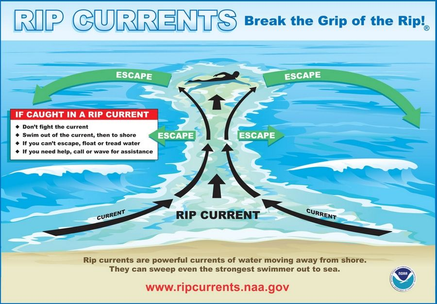 Rip currents can occur on any body of water with breaking waves. To escape one, swim parallel to the shoreline until you are free of the current, then head back in at an angle.
