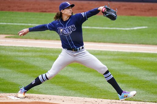 Tampa Bay Rays' Tyler Glasnow (20) delivers a pitch during the first inning of a baseball game against the New York Yankees Saturday, April 17, 2021, in New York.