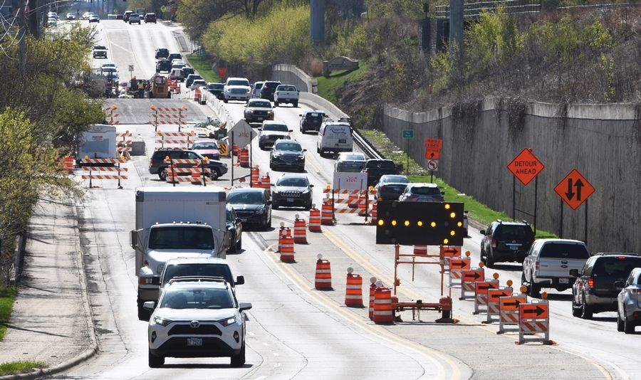 Only one lane of traffic is open for each direction on the Route 14 bridge over the Fox River between Cary and Fox River Grove. Roadwork and other infrastructure priorities are part of a $2 trillion plan President Joe Biden is promoting.