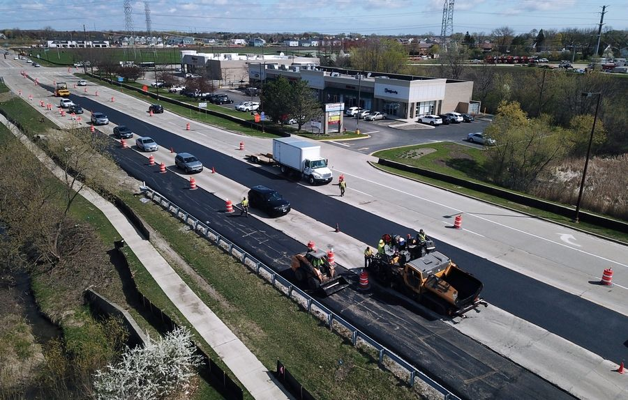 Road improvements continues on Buffalo Grove Road just south of Aptakisic Road in Buffalo Grove on Friday. Road construction and other infrastructure priorities are part of the $2 trillion American Jobs Plan President Joe Biden is promoting.