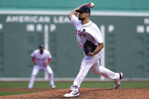 Boston Red Sox starting pitcher Nathan Eovaldi delivers to the Chicago White Sox in the second inning of a baseball game at Fenway Park, Monday, April 19, 2021, in Boston.
