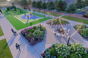 A park shown in this rendering serves as the focal point of the Naper Commons subdivision, planned for a portion of the Nokia property in Naperville.