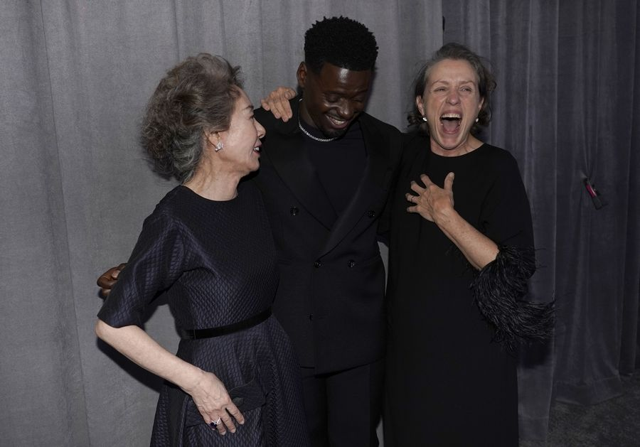 Oscar winners Yuh-Jung Youn, left, Daniel Kaluuya and Frances McDormand had a good time after last weekend's Oscars, but viewers were left flummoxed by the double-whammy of the producers' decision to change the show's run order and Chadwick Boseman losing the Best Actor award to Anthony Hopkins.