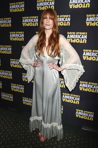 "FILE - Florence Welch attends the Broadway opening night of ""David Byrne's American Utopia,"" in New York on Oct. 20, 2019. Welch is supplying the lyrics and co-writing music for a stage musical of 'œThe Great Gatsby,'� it was announced Wednesday. She will collaborate on the music with Thomas Bartlett. The story writer is Martyna Majok, who was awarded the 2018 Pulitzer Prize for Drama for 'œCost of Living.'�  (Photo by Greg Allen/Invision/AP, File)"