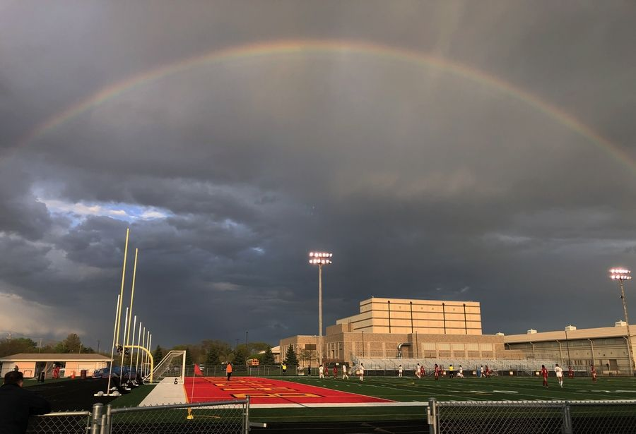 A rainbow helped kick off the start of Thursday's girls soccer game between Batavia and Wheaton Warrenville South' at Batavia High School. Weather was threatening the game but play started on time.
