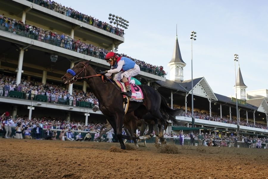 Associated PressJohn Velazquez riding Medina Spirit crosses the finish line to win the 147th running of the Kentucky Derby at Churchill Downs, Saturday, May 1, 2021, in Louisville, Ky.