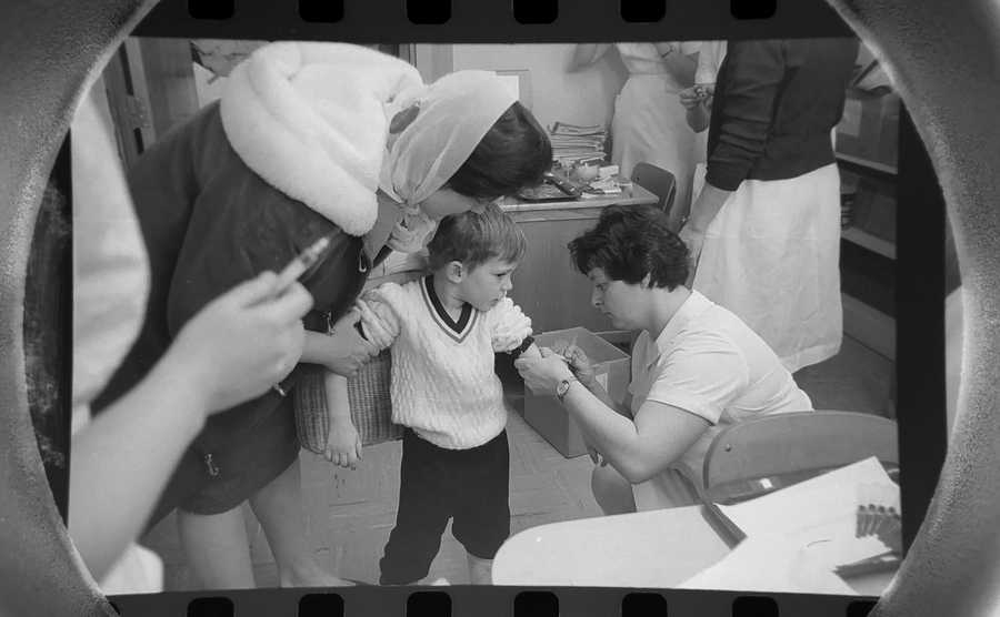 The Daily Herald Archive, Assignment # 3,235, Larry Cameron photo: This child received the measles vaccine at Laurel Hill School in Hanover Park in March of 1966. Children from one to six years of age could be vaccinated if the parents had written permission from their doctor.