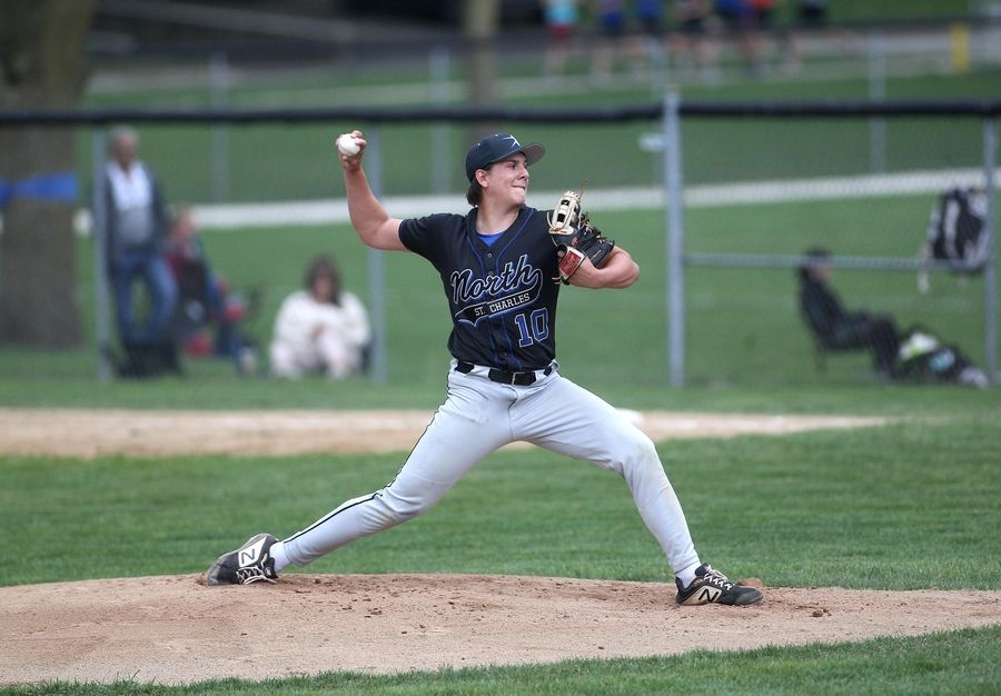 St. Charles North's Zachary Kempe pitches at Geneva High School on Monday, May 3, 2021.